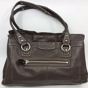 COACH L Brown Leather Stylish Shoulder Bag